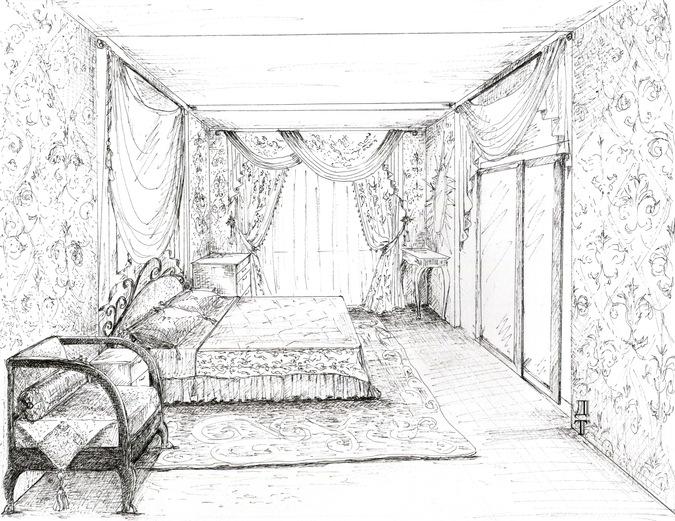 эскиз интерьера - подбор текстиля