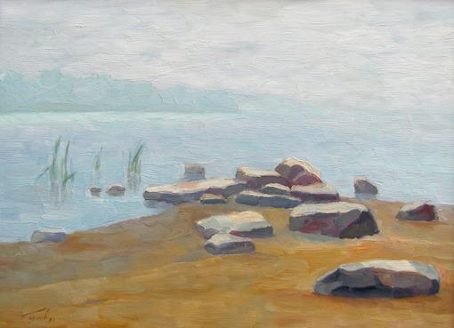 Берег Волхова. Туман