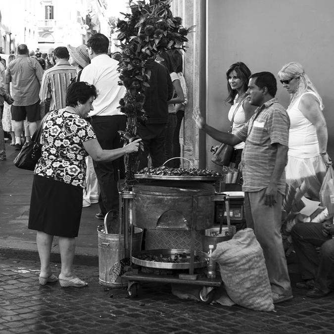 Продавец каштанов в Риме