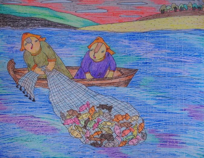 Необычайный улов.2007г. восковые карандаши, бумага - ЛАРИСА ШУНИНА.jpg
