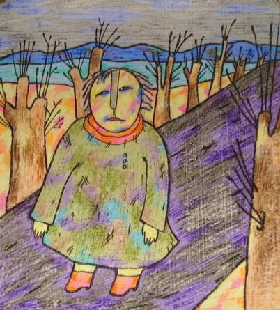 Одиночество.2007г, восковые карандаши, бумага- ЛАРИСА ШУНИНА.jpg