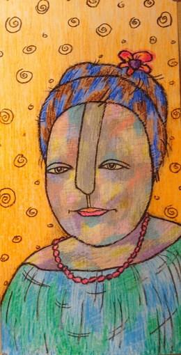 Южная девушка.2007г.восковые карандаши, бумага-ЛАРИСА ШУНИНА.jpg